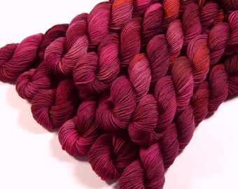 Mini Skeins - Hand Dyed Yarn - Sock Weight 4 Ply Superwash Merino Wool Yarn - Merlot Multi - Knitting Yarn, Sock Yarn, Burgundy Red
