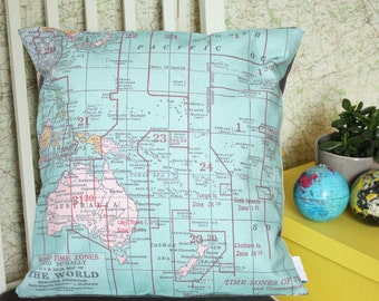 Australasia Timezones Vintage Map Cushion or Pillow