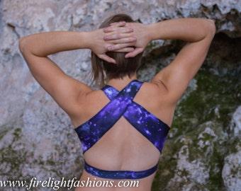 sport bra crop top | athletic workout shirt | spandex bikini top | yoga belly shirt | cross top | pole dancer halter top | galaxy swim suit