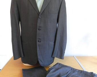 Vintage 50s Suit Mens 2pc Dark Grey Suit