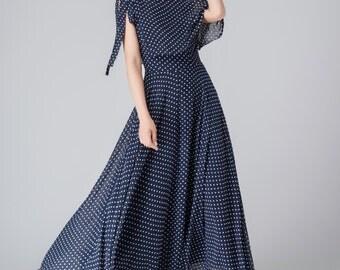 Blue chiffon dress, women's dresses, prom dress, maxi dress, summer dress, polka dot dress, high waisted dress, handmade dress 1539
