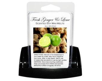 FRESH GINGER & Lime Soy Melts - Wax Tarts - Soy Tarts - Candle Tarts - Melting Tart - Scented Tart - Tart Melt - Wax Melt - Dye Free