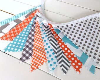 Bunting Banner,Photo Prop,Flags,Birthday Decoration,Nursery Decor,Garland,Home Decor,Pennant - Gray,Orange,Aqua Blue,Grey,Chevron,Dots