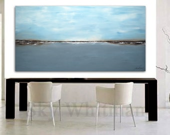 MASSIVE Original Landscape Painting 6 Foot Blue Abstract Art Oil Painting 36 x 72 Original Modern Art Large Seascape Painting Free Shipping