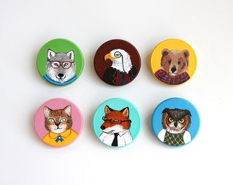 Fancy Animal Portraits Wooden Pin Badges - (Select One)