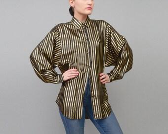 Vintage 80s Black + Gold Striped Blouse Long Sleeve Metallic Lame Button Up Shirt Medium Large M L