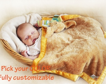 Shaggy Puppy Dog Security Blanket, Lovey Blanket, Satin, Baby Blanket, Stuffed Animal, Baby Toy - Customize Color - Add Monogramming