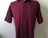 Vintage Men's 70's Burgundy Polyester Shirt, Short Sleeve, Button Down by Unicorn (XL)