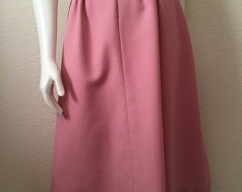 Vintage Women's 70's Pink Skirt, Polyester, A Line, Knee Length (L)