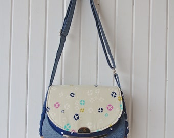 Snapdragon Satchel in Cotton and Steel Mochi Hot Cross Buns with Navy Linen and Cork