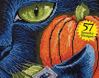 JUST CROSS STITCH Magazine: Annual Halloween Special Collector's Issue 2016 -Ornaments- Sugar Skull - Witch - Pumpkin - Black Cat - Calavera