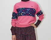 Oscar de la Renta Sweatshirt, Pink Rounder Pullover Jumper, 80's 90's Confetti Icon Sweater, Small / Medium