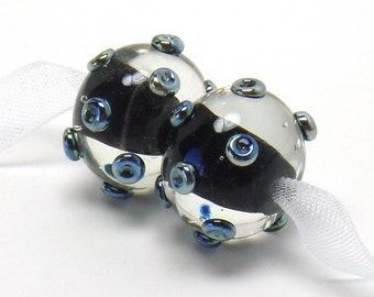 Lampwork beads, black lampwork earring pair, round lampwork beads, silver glass beads, silver dots lampwork beads, black glass beads