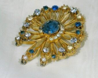 Coro Rhinestone Brooch Francois Flower Pin Vintage 50s Designer Costume Jewelry