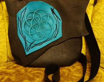 NEW! Medium Seed Of Life Leather Purse / Handmade Bag Sacred Geometry Festival Black Turquoise Durable Rustic Earthy Woodland Natural