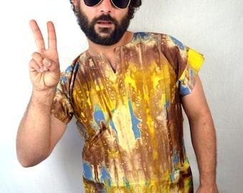 Vintage 80s Ethnic Boho Batik Tie Dye Dashiki Caftan Shirt