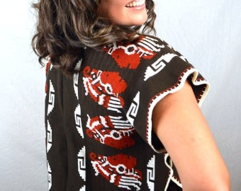 Vintage Boho Mexican Aztec Native Indian Mayan Poncho Sweater