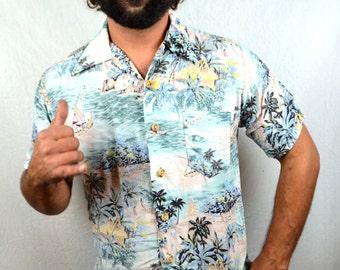 Rad Ocean Pacific OP Vintage 80s Rainbow Neon Button Up Hawaiian Style Shirt