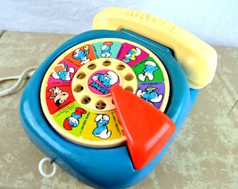 Vintage The Smurfs Play Telephone Mattel Play Phone 1978 Cartoon Characters
