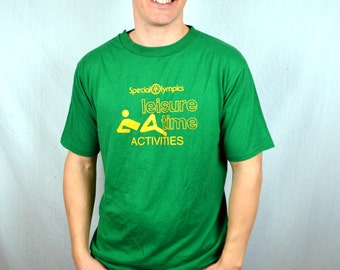 Vintage 80s Special Olympics Leisure Time Green Tee Shirt Tshirt