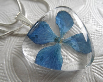 Colorado Sky Blue Hydrangea Pressed Flower Glass Triangle Pendant-Symbolizes Understanding-Nature's Wearable Art-Gifts For 25