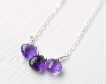Sterling Silver Amethyst Necklace / Three Stone Amethyst Necklace / Small Purple Gemstone Necklace / February Birthstone Jewelry