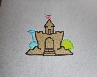 Free Shipping Ready to Ship Sandcastle fabric iron on applique