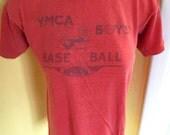 1950s genuine vintage tee shirt Racine YMCA Baseball - red size small