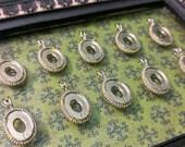 10 Vintage Silver Tone Oval Bezel Pendant, Fits 10mm x 14mm Cabochon