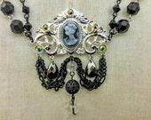 Gothic Cameo Necklace Victorian Black Pendant Necklace Bridal Bridesmaid Romantic Necklace