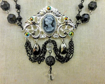 Gothic Cameo Necklace Victorian Black Pendant Necklace Bridal Bridesmaid Romantic Necklace