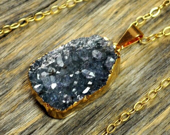 Blue Druzy Necklace, Blue Druzy Pendant, Blue Druzy Jewelry, Blue Stone, Gold Druzy Necklace, Gold Druzy Pendant, 14k Gold Fill Chain