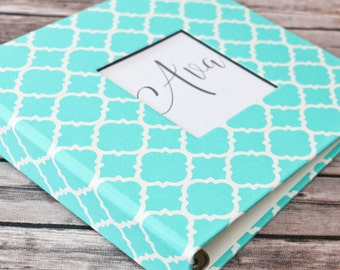 Baby Book - Turquoise Quatrefoil  (80 designed journaling pages & personalization included with every album)