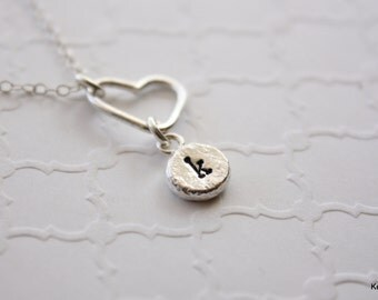 Initial Necklace, Personalized Jewelry, Silver Heart Necklace