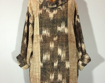 Vintage 70's Minimalist Cowl Neck Poncho Tunic Neutral Ikat M