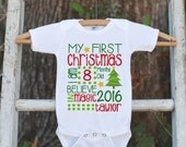Baby's First Christmas Outfit - First Christmas Onepiece - Baby's First Christmas Outfit for Baby Boy or Baby Girl's My First Christmas Top