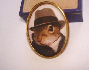Racoon  Top Hat Animal  Brooch