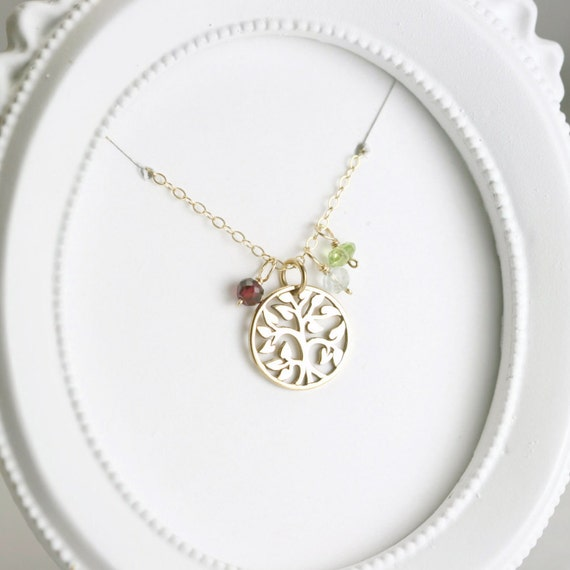 Gold Family Tree Necklace - Birthstone Necklace for Mom - Grandma Necklace - Family Necklace - Family Tree Mothers Necklace - Mom Necklace