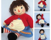 Merrily Ann - Raggedy Ann doll knitting pattern - INSTANT DOWNLOAD