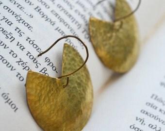 Brass circular earrings