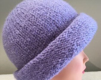 Perwinkle hand knit felted wool hat with rolled brim
