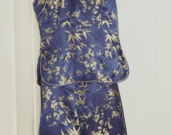 Sale Pretty Vintage Asian Two Piece Cheongsam and Wiggle Skirt Set in Cobalt Blue and Gold Size S