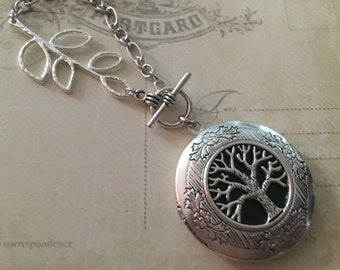 Tree Locket Necklace, Silver Locket Jewelry, Photo Locket, Locket Necklace charm, Fall Jewelry