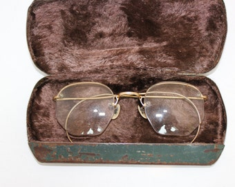 Antique 1920s Eyeglasses // 20s 30s Rare Vintage Frames // Gold-filled // Art Deco //  Hexagon Lens // Art Craft /with case/rh1212