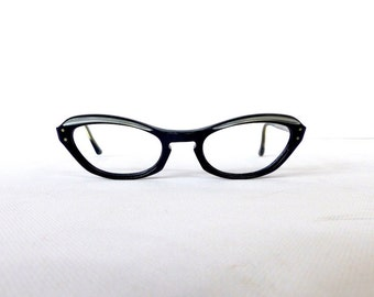 Vintage 1950s Brow Line Cats Eye Glasses Frames // 50's Two Tone Black Silver Frame Eyeglasses #M2
