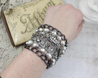 Chunky MultiStrand Vintage Assemblage Bracelet, MultiStrand Art Deco and Pearl Assemblage Bracelet, Vintage Assemblage Statement Bracelet