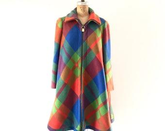 Vintage 1960s Mod Plaid Coat Colorful Rainbow Wool Winter A-Line Swing Coat M