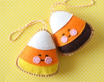PDF patroon - Candy Corn Cookie, Halloween vilt Ornament patroon, Softie patroon