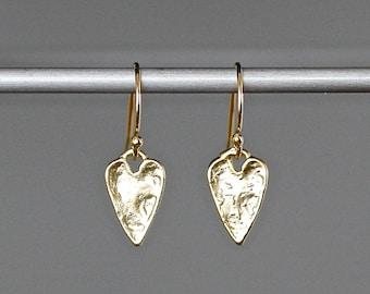 Gold Heart Earrings - Heart Charm Earrings - Heart Dangle Earrings - Hammered Gold Earrings - Heart Jewelry - Petite Earrings - Gift for Her