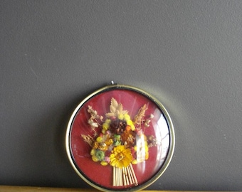 Framed - Vintage Convex Dome with Flowers - Bubble Frame with Flowers